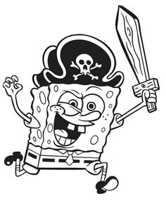 pirate spongebob colouring pages