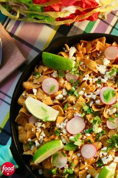 Enjoy all the flavours of a taco bar in just one warm and flavourful dish (because who needs all those dishes?). Molly Yeh takes spiced ground beef, beans and salsa and tops it with corn chips. After a quick trip to the oven to bake, she tops it all with the classic taco fixings. Corn and radishes add sweetness and crunch, while queso fresco and salsa verde finish it off with bold flavour. Garnish with cilantro (if that's your jam) and limes for the perfect family-style taco meal. Beef Recipes, Mexican Food Recipes, Cooking Recipes, Taco Meal, Hotdish Recipes, Mild Salsa, Spiced Beef, Cast Iron Cooking, Kochen