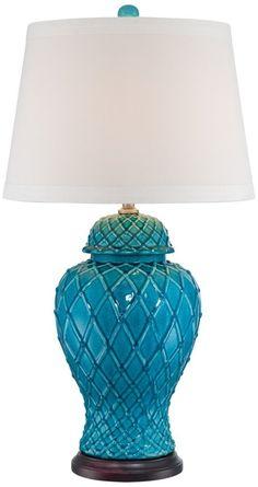 Lavoie Turquoise Trellis Ceramic Table Lamp - - Amazon.com