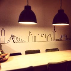Skyline Rotterdam in washitape