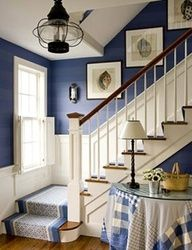 Dining Room the right shade of blue. Lisa Mende Design: Best Navy Blue Paint Colors - 8 of my Favs! Blue Rooms, Blue Walls, White Walls, Blue Paint Colors, Nautical Paint Colors, Color Blue, House Stairs, Cottage Stairs, Design Case