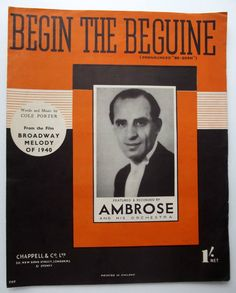 Begin the Beguine JAZZ sheet music swing song COLE PORTER Broadway Melody 1940