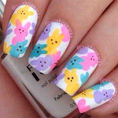 Marshmallow bunny nails