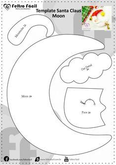 Feltro Fácil Moldes e Apostilas: Template Felt Santa Claus Moon
