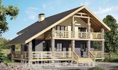 160-010-П Проект двухэтажного дома с мансардным этажом, скромный загородный дом из твинблока