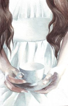 Original watercolor painting Woman with Tea Cup art    Size: 148 x 210mm (5.8 x 8.3) - please note that other sizes are available.  The original