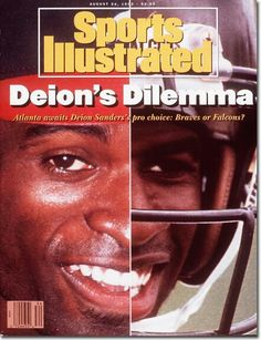 Deion Sanders - (Sports Illustrated - August 24, 1992) Sports Magazine Covers, Sports Ilustrated, Si Cover, England Fans, Sports Illustrated Covers, Nfl History, Bo Jackson, Prime Time, Atlanta Falcons