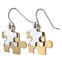 Autism Awareness Two-Tone Earrings. Proceeds help fund 6.6% of an hour of research and therapy for children with Autism.