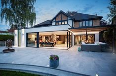 House Extension Design, Roof Extension, House Design, House Plans Uk, Flat Roof Lights, Large Open Plan Kitchens, New Staircase, House Extensions, Open Plan Living
