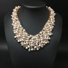 Crystal pearl necklace Wedding Necklace by JewelrybyPaperMade