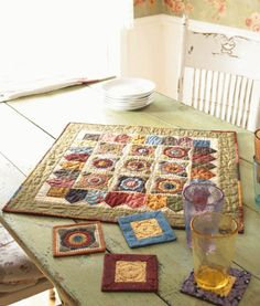 Scrappy Floral Appliqué Table Mat plus more patterns for Small Quilts -- All People Quilt