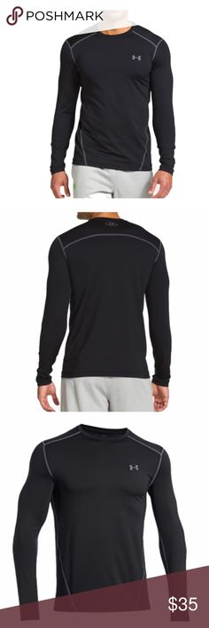 UA ColdGear® Evo Fitted Men's Long Sleeve Shirt Fitted: Next-to-skin without the squeeze. Dual-layer fabric with an ultra-warm, brushed interior & a slick, fast-drying exterior 4-way stretch fabrication allows greater mobility in any direction Moisture Transport System wicks sweat away from the body Anti-odor technology prevents the growth of odor causing microbes Smooth, chafe-free flatlock seam construction 7.1 oz. Polyester/Elastane Imported Under Armour Shirts Tees - Long Sleeve