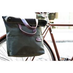 Tote Pannier   Bicycle Bag   Olive and Brown