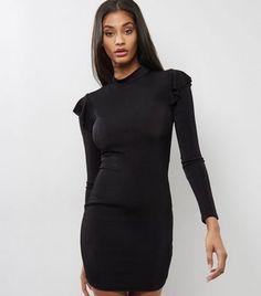 Black Frill Trim Funnel Neck Bodycon Dress | New Look