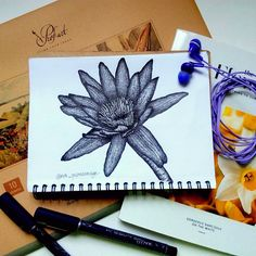 Lotus. Dotwork, pointillism