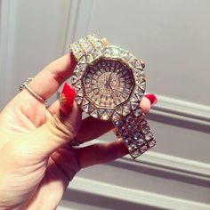 new style! Top Quality Women Watches Luxury Steel Full Rhinestone Wristwatch Lady Crystal Dress Watches Female Quartz Watch Isn`t it awesome? Visit our store
