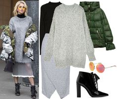Suma capas y ¡vencerás!. Black tutleneck sweater+grey oversized sweater+grey midi skirt+black lace-up ankle boots+olive green padded jacket. Winter Casual Outfit 2017