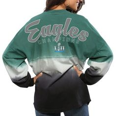 83efd1298 Women s Philadelphia Eagles NFL Pro Line by Fanatics Branded Midnight  Green Black Super Bowl LII Champions Spirit Jersey Long Sleeve T-Shirt