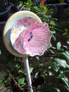 Recycled Garden Yard Art Glass Flower