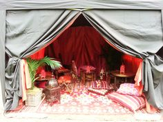 Small shisha smoking tent set up for the client in the grounds of their wedding venue