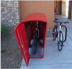 Single Bike Locker van Function First Outside Bike Storage, Garden Bike Storage, Bicycle Storage Garage, Outdoor Bike Storage, Shed Storage, Bike Locker, Bike Storage Solutions, Storage Ideas, Bike Shelter