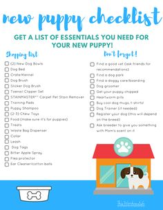 Are you getting a new puppy? We put together a list of what you will need to care for your new puppy. Get our list of New Puppy Essentials Checklist a… – animals Puppy List, Puppy Check List, Dog List, List Of Pets, New Puppy Checklist, Puppy Shot Schedule, Puppy Supplies, Puppies Tips, Easiest Dogs To Train