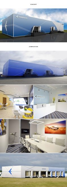 RTH incorporated all of Embraer's hospitality and exhibited requirements under one roof in a purpose built structure for the first time. Seven meeting rooms, lounge area, media room for press conferences, interactive area and a full-size fuselage mock up were all housed using the highest quality build standards and finishes.