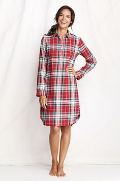Nightgown  Women's Long Sleeve Print Flannel Nightshirt from Lands' End