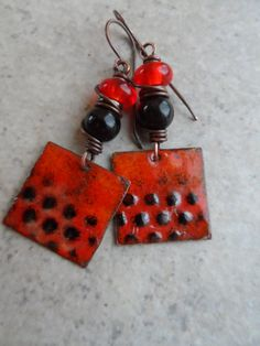 Wanna Play? ... Enameled Copper, Lampwork, Onyx and Copper Wire-Wrapped Rustic, Bright, Boho Earrings