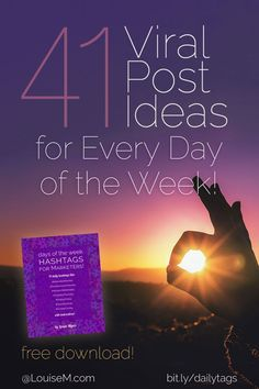 Hashtags ROCK Instagram & Twitter! Click to blog to get your FREE download with viral post ideas for every day of the week. Use it to skyrocket engagement & followers!