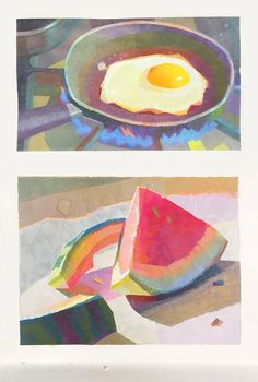 tasty gouache studies by Yuchung Peter Chan I love the geometric painting style - Design Art Watercolor Art, Art Painting, Drawings, Painting, Illustration Art, Gouache Art, Gouache, Kinder Art, Pretty Art