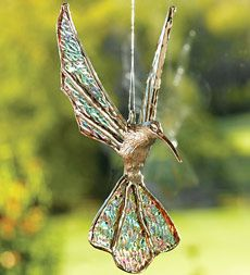 Glass Winged Hummingbird  (hang in your favorite sunny window and enjoy all of the rainbows)fascinates adults as well as the children. Great for little gifts and of course one for yourself.