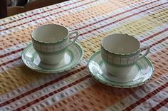 Vintage Pair British Anchor Cottage Green – Tea Cups & Saucers – Great! – (06/28/2012) cups stand 2 ¾ inches high and the saucers measure 5 ½ inches across