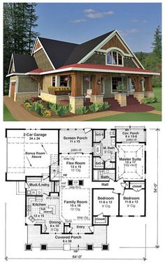 House Plan 42618 is a craftsman style design with 3 bedrooms, 2 bathrooms and a bonus area of 288 sq. Total living area is 1866 sq. The master suite has an attractive vaulted tray ceiling, and the master bathroom has two stand-up showers, two vani Dream House Plans, House Floor Plans, My Dream Home, Craftsman Style Homes, Craftsman Bungalows, Craftsman Bungalow House Plans, Craftsman Style House Plans, Small Bungalow, Bungalow Homes Plans