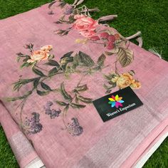 Linen fancy digital prints with silver border . These sarees designed with linen fancy fabric with beautiful floral prints with silver Saree Floral, Printed Linen, Sarees, Digital Prints, Ethnic, Floral Prints, Designers, Fancy, Pure Products