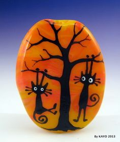 """Sunset Swingers"" Bykayo A Handmade Black Cat Lampwork Art Glass"