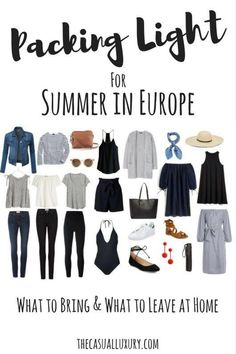 Packing Light: European Summer Edition – Casual Luxury // Travel Packing Light: European Summer Edition Europe in a Carry-On // What to Wear in Europe // Packing Light // Summer in Europe // Europe Packing List Packing Light Summer, Summer Packing Lists, Packing For Europe, Packing Tips For Travel, New Travel, Travel Style, Europe Europe, Travel Fashion, Travel Packing Light