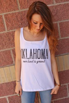 Oklahoma our land is grand front design thin strap tank top