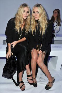 Olsens Anonymous Blog Mary Kate Ashley Olsen Twins Best All Black Looks Kanye West Front Row Wavy Hair Smoky Eye Beauty Fringe Dress Sandals