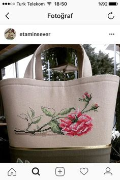 This Pin was discovered by sum Cross Stitch Love, Cross Stitch Pictures, Cross Stitch Flowers, Cross Stitch Designs, Cross Stitch Patterns, Floral Embroidery Patterns, Embroidery Bags, Cross Stitch Embroidery, Art Bag
