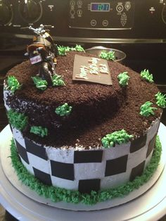 Childs Boys Dirt Bike Motocross Tiered Cake cakepins.com