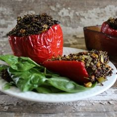 Moroccan Quinoa Stuffed Red Peppers HealthyAperture.com