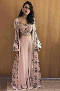 indian designer wear The Stylish And Elegant Jecket Suit In Pastel Pink Color Looks Stunning And Gorgeous With Trendy And Fashionable Printed,Lace Work,Mirror Work .The Silk Fabric Party Wear Jacket Suit Looks Extremely A. Indian Gowns, Indian Attire, Pakistani Dresses, Indian Suits Punjabi, Indian Lengha, Indian Wear, Pakistani Suits, Punjabi Lehenga, Indowestern Lehenga