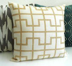 Throw pillow, Designer pillow, Bleeker by Schumacher in Biscuit,  tan trellis pillow. $46.00, via Etsy.