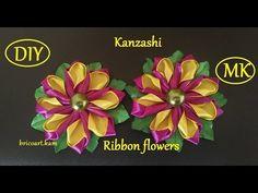 DIY/New Kanzashi Petal/Kanzashi Flower tutorial/Ribbon flower/MK/канзаши: bricoart.kam - YouTube