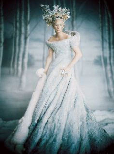 PALE FIRE  Tilda Swinton, in costume as the White Witch in a pale-blue felt dress and white fox fur stole.
