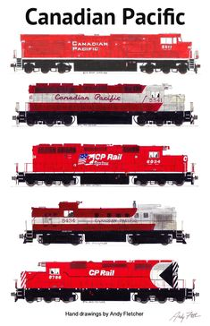 5 Canadian Pacific locomotives in the mixed paint schemes. Hand drawings by Andy Fletcher.