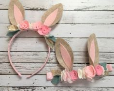 Bunny Ears Bunny Headband Somebunny Party Rabbit by luxieblooms