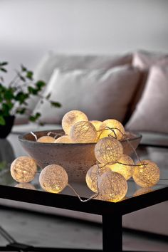 Lichterkette - Diy And Crafts Candle Lamp, Led Lamp, Tumblr Lamp, Cotton Ball Lights, Luz Led, Art Deco Design, Fairy Lights, Home Gifts, Decorative Bowls
