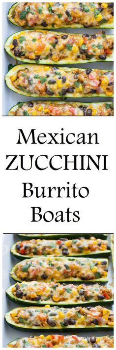 Mexican Zucchini Burrito Boats- a simple meatless meal packed with flavor! Less than 200 calories per boat! #vegetarian #glutenfree: